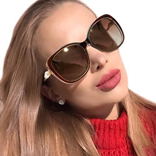 MuJaJa Polarisierte Sonnenbrille Damen, Autofahren und Fahrrad-100% Schutz vor UVA- und UVB (Braun)