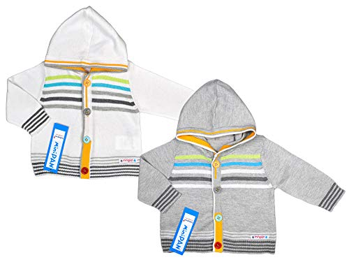 bebepan Baby-Jungen Strickjacke mit Kaputze Cardigan mit Knopfleiste Baby Pullover Neugeborenen Bekleidung Erstlingskleidung (68, grau)