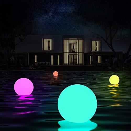 Luces flotantes piscina, 4 Piezas Luz de Bola Impermeable IP68 con Control Remoto, 16 Colors Lámpara LED Decoración Interior y Exterior para Piscina,Playa,Jardín,Hogar,Fiesta