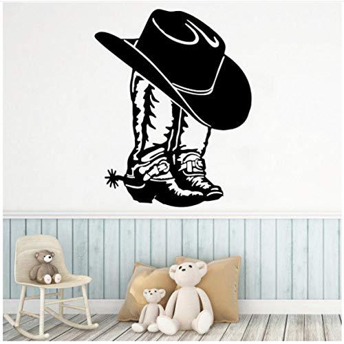 Cowboylaarzen hoed wandsticker jongens meisjes kinderen slaapkamer kunst decor vinyl wandtattoos wooncultuur woonkamer kantoor 42x33cm