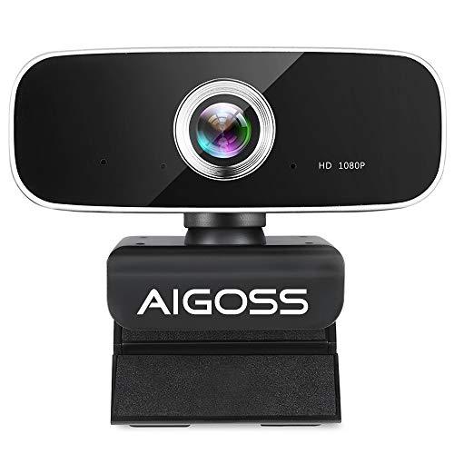 Aigoss Webcam 1080p Full HD con Microfono, PC Laptop Desktop Computer USB per Videochiamate, Studio, Conferenza, Registrazione, Gioca a Giochi e Lavoro a Casa