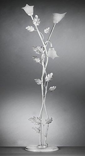 ONLI - Piantana / lampada da terra Marilena 3 luci in metallo bianco spennellato argento. Paralumi in vetro bianco. Prodotto lavorato a mano in Italia. 50cm x h 180cm
