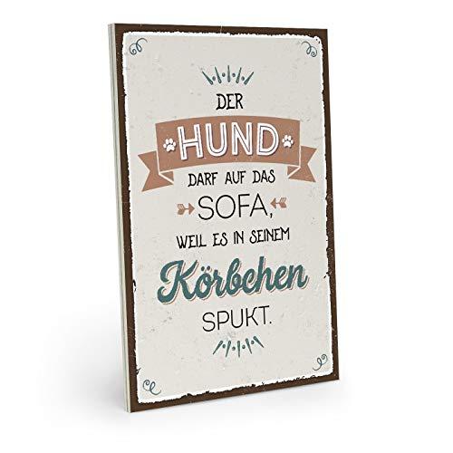 ARTFAVES Holzschild mit Spruch - Im Hundekörbchen spukt es - Vintage Shabby Deko-Wandbild/Türschild