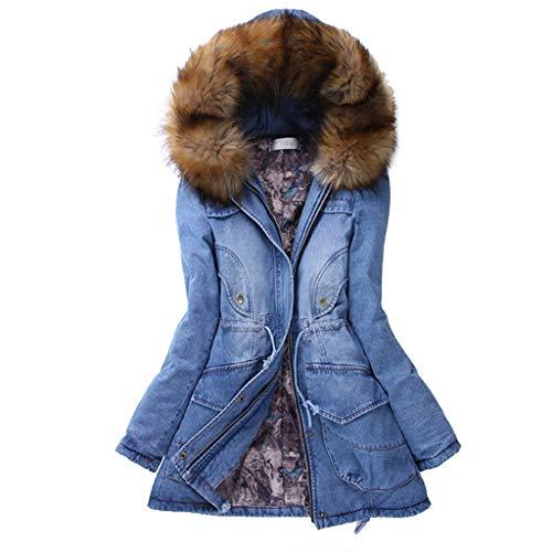 Damen Winterjacke,Wintermantel Lange Daunenjacke Jacke Outwear Winter Warm Trenchcoat mit Abnehmbarer Pelzkragen Parka Outwear Mäntel