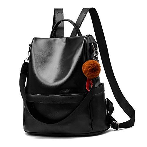 Women Daypack Backpack Lightweight Stylish Purse Waterproof Nylon or PU Leather Fashion Shoulder Bag Anti-theft Travel Daypack Rucksack (L, PU Black)