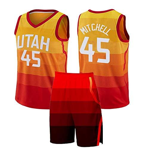 Jersey De Uniformes De Baloncesto para Hombre, Niño Adulto Utah Jazz #45 Mitchell Jersey Conjunto Camiseta Sin Mangas Superior Y Traje De Entrenamiento De Color Degradado Corto,5XL