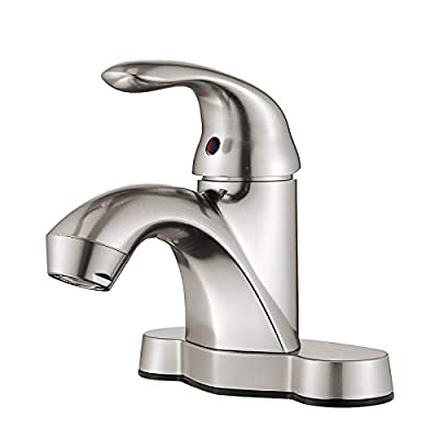 HOMELODY Bathroom Faucet One-Handle Bathroom Faucet Brushed Nickel, Low Arc Single Handle 4 inch Centerset Bathroom Sink Faucet for 2 or 3 Holes ABS Lavatory Faucet, Hot and Cold Water RV Faucet