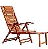 Sillón de Madera para terraza al Aire Libre Sillón Plegable, tumbonas de bambú Frescas en Verano Tumbona Ajustable para Patio, Piscina, sillón portátil para Acampar, sillón reclinable con reposa