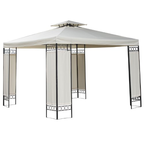FoxHunter BIRCHTREE Premium 3m x 3m x 2.6m Beige Garden Pavilion Patio Gazebo Powder Coated Steel Pole 180G Waterproof Canopy Tent Awning Marquee G006A