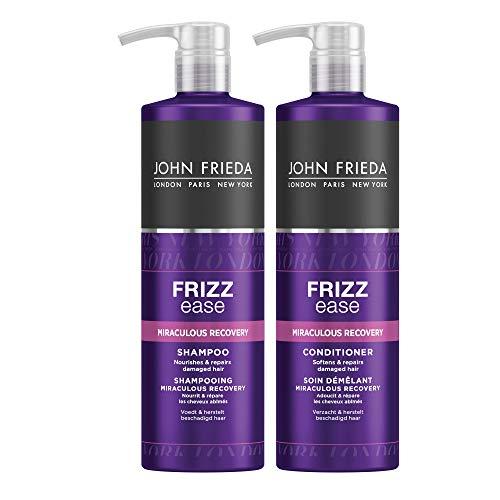 John Frieda Miraculous Recovery Vorteils-Set - 2 x 500 ml Shampoo und 2 x 500 ml Conditioner - Special Size - Mit Pumpspender-Aufsatz - Wunder Reparatur Serie