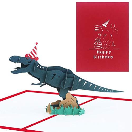 EUFANCE Dinosaurier Geburtstagskarte 3D Pop Up Grußkarten Jubiläum Baby Geburtstag Halloween Neujahr Thanksgiving Weihnachten