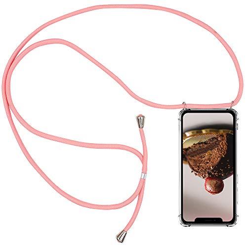 CLM-Tech Carcasa con Cuerda para Colgar Compatible con Apple iPhone 11 (6.1 Pulgada) - Funda Silicona Transparente con Cordon para Llevar en el Cuello, Rosa