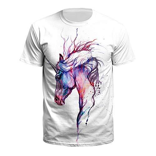 XIAOBAOZITXU T-Shirt Mode Grote Maat Korte mouwen Ronde hals Inkt Eenhoorn Mannen En Vrouwen Liefhebbers Kleding Zomer Sport T-Shirt