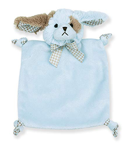 "Bearington Baby Wee Waggles, Small Blue Puppy Stuffed Animal Lovey Security Blanket, 8"" x 7"""