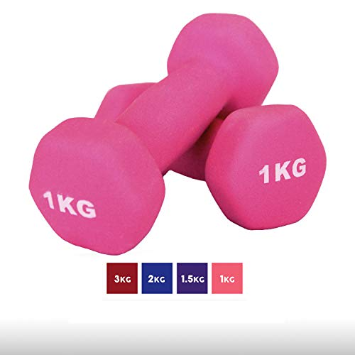 Goutime 1kg Neoprene Dumbbells,Fitness Gym Exercise with Non-Slip Hand for Men and Women at Home (Pack of 2)