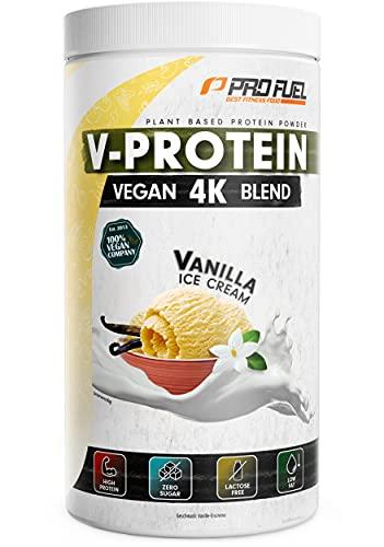 Vegan Proteinpulver – Vanille - V-PROTEIN 4K Blend, 750g | Unglaublich lecker & cremig | Aus Sonnenblumen, Soja, Hanfsamen & Kürbiskernen | Pflanzliches Eiweißpulver mit 81{a18047e37ab72e52745f9ffa50494a75d6b406dff37d4615e4018464aa79dba7} Eiweiß