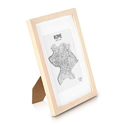 Classic by Casa Chic - Echtholz Bilderrahmen A4 - Holz Natur - 21 x 29,7 cm - mit Passepartout für ein 15×20 cm Bild - bruchfestes Sicherheitsglas - Ideal für Zertifikate und Urkunden - Rahmenbreite 2 cm