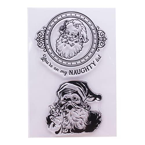 LIZHILIAN Sello transparente de silicona retro de Santa para manualidades, álbumes de recortes, álbum de fotos, papel decorativo para manualidades, sellos transparentes
