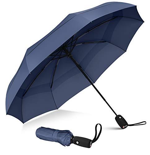 Repel - Paraguas de viaje resistente al viento con revestimiento de teflón (azul marino)