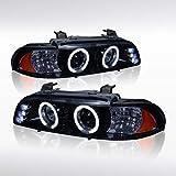 Autozensation for 1996-2003 BMW 525i 528i 540i Glossy Black Smoke Projector Headlights w/LED
