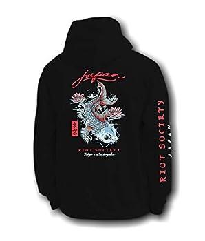 Riot Society Japan Koi Lotus Mens Hoodie - Black Medium