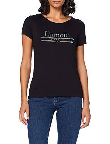 Morgan Tshirt Message Amour Dquiero Camiseta, Negro, TL para Mujer