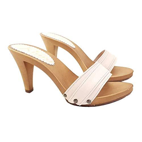 Kiara Shoes Zoccoli con Tacco 9 e Fascia in Pelle - K6301 P CIPRIA