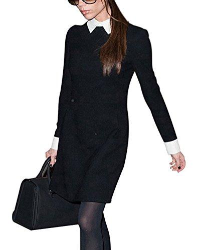 Minetom Mujeres Niñas Elegante Vestir Manga Larga A-Line Vestir Vestido De Fiesta De Graduación