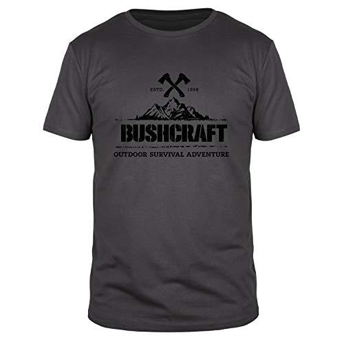 FABTEE - Bushcraft Outdoor Survival Adventure Herren Shirt | Plus Gratis Aufkleber Größen bis 3XL, Größe:L, Farbe:Anthrazit