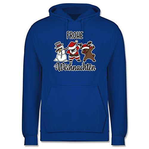 Weihnachten & Silvester - Frohe Weihnachten mit Dabbing Figuren - weiß - XL - Royalblau - JH001_Hoodie_Herren - JH001 - Herren Hoodie und Kapuzenpullover für Männer