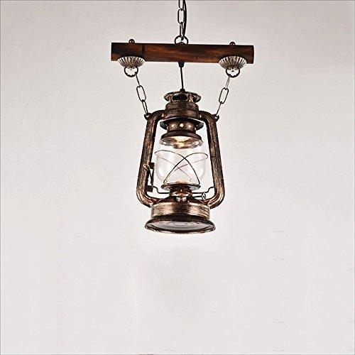 SHKUU Lámpara Queroseno Antigua nostálgica Araña una Cabeza Arte Hierro Barra Retro Luces Colgantes Lámpara Colgante Pasillo Lámpara Techo café (sin Bombillas)