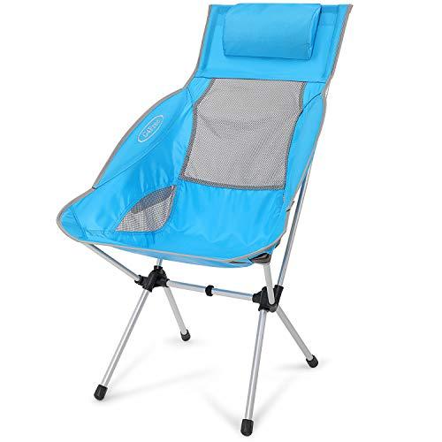 G4Free Silla de camping plegable, ligera de respaldo alto con almohada extraíble, bolsillo lateral y bolsa de transporte, compacta y resistente para exteriores, picnic, festival, senderismo, mochila 🔥