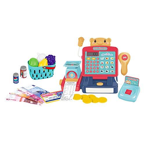Huaxingda Juego de juguetes de caja registradora, 25 piezas para niños y niñas simulan jugar juguete hasta caja registradora juguete con escáner