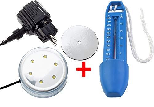 Steinbach LED Poollicht für Aufstellpools 230 V / 12 V Magnetbefestigung + Poolthermometer
