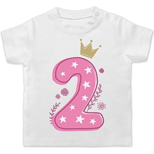 Geburtstag Baby - 2. Geburtstag Mädchen Krone Sterne - 18/24 Monate - Weiß - Shirt 3. Geburtstag mädchen - BZ02 - Baby T-Shirt Kurzarm