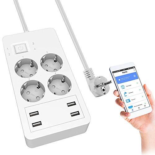 Smart Steckdosenleiste, Wlan Alexa Steckdosenleiste mit 4 AC-Ausgängen 4 USB, Überspannungsschutz Mehrfachsteckdose, Kompatibel mit Alexa Google Home