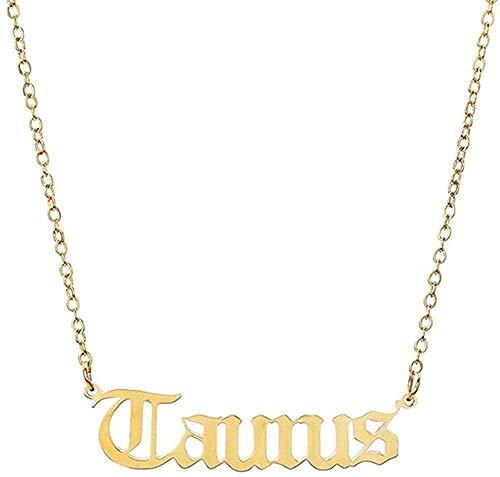 Aluyouqi Co.,ltd Collar 12 Constelaciones de Letras del Zodiaco Collar para Mujeres Hombres Virgo Libra Escorpio Sagitario Capricornio Acuario Regalo de cumpleaños