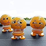 ASSAY Set of 3 Spring Cute Smiley Doll Car Ornament Interior Dashboard Decor Bounce Toys, Add More Lovely Romantic and Sweet Atmosphere to Your Car Life.