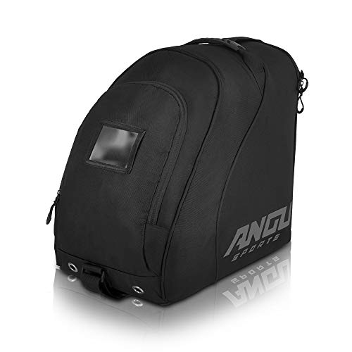 ANGU SPORTS Ski Boot Bag   Travel Luggage for Ski Gear, Boots, Gloves, Helmet, Goggles & Accessories   Boot Bag for Snowboard- & Ski Boots   Perfect for Air Travel   Quality Zippers   Boot bag (Black)