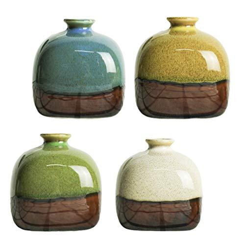 Yardwe - Juego de 4 jarrones pequeños de cerámica para plantas verdes