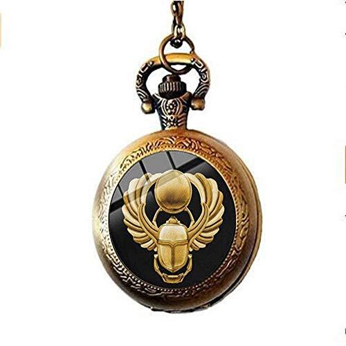 Reloj de bolsillo con amuleto de escarabajo egipcio, diseño de animales antiguos egipcios