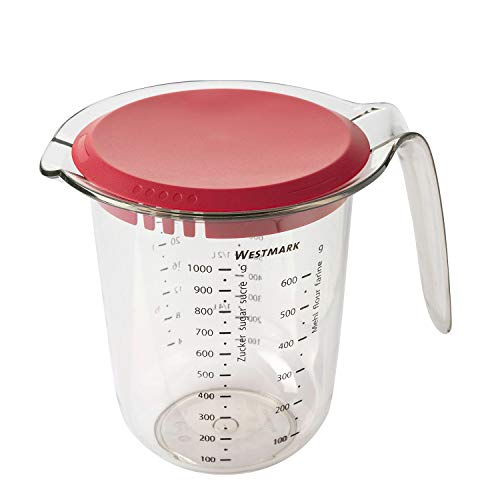 Westmark Jarra medidora, Con tapa, Escalas de medición multilingües y varias unidades de medida, Volumen de llenado: 1 l, Plástico, Transparente/rojo, 30662270