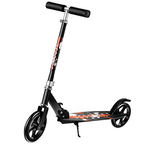 Blingko Erwachsene Mini Klapproller Leicht Abnehmbarer Protable Kickscooter mit Doppel Federung City Roller Scooter Klappbar,Tretroller, Roller (Schwarz)