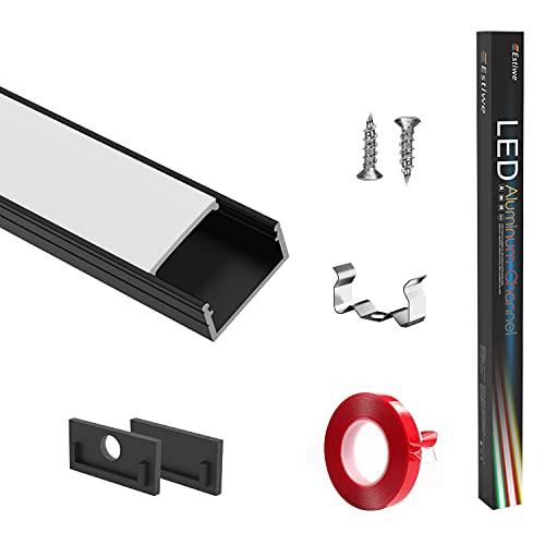 LED Aluminium Profil 10x1m U-Form,LED Profil Mattschwarze+Milchig,LED-Kanäle,Innere Breite16mm Passend Für Philips HUE-Lichtstreifen,Mit 3M Klebstoff,Metall Befestigungs Clips,Endkappen,Estiwe 10-Pack