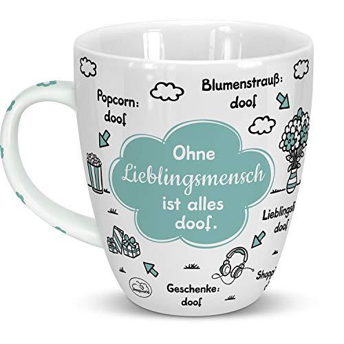 Sheepworld 46508 Tasse Ohne Lieblingsmensch ist alles doof, Wolke, 45 cl, Blau, Geschenktasse