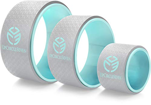 UpCircleSeven Yoga Wheel Set - Strongest & Most Comfortable Dharma Yoga Prop Wheel, 3 Pack for Back Pain Stretching & Backbends (12, 10, 6 inch) (Turquoise)