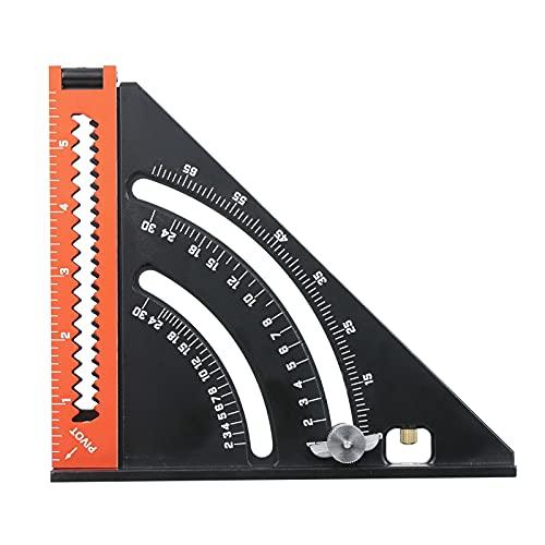 Voupuoda Triángulo plegable Regla cuadrada Goniómetro Aleación de aluminio Regla de medición multifunción Herramienta de posicionamiento para carpintería métrica Ajuste de ángulo 6 pulgadas Extensible