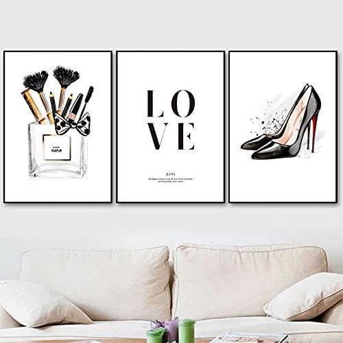 Cartel De Moda Perfume Blanco Negro Tacones Altos Impresiones De Arte De Pared 3 Piezas Pintura De Lienzo Regalo Para Su Imagen De Pared De Pestañas Vogue Girls Dormitorio Decoración 12'X16'X3Panels