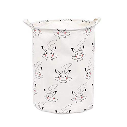 Canvas Pikachu Storage Basket with Handle Large Organizer Bins for Dirty Laundry Hamper Baby Toys Nursery Kids Clothes White Collapsible Closet 15.7 inch x 19.6 inch