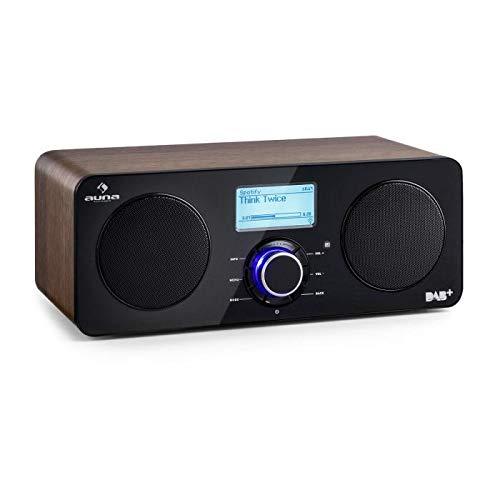 auna Worldwide ST - Radio Digital por Internet con wi-fi , Reproductor de Red , Dab / Dab+ , FM / AW , RDS , Puerto USB con MP3 , Autoapagado , Pantalla LCD , Mando Distancia , Nogal